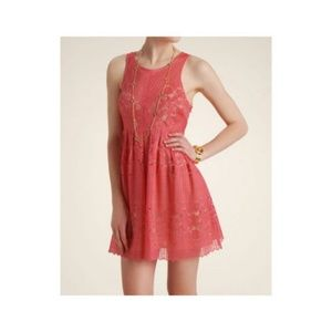 Free People Rocco Floral Lace Cut Out Pink Dress